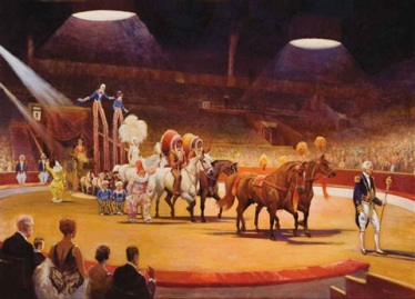 edward-seago-the-grand-parade,-bertram-mills-circus-at-olympia